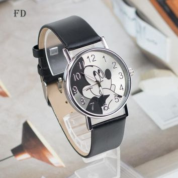 FD Fashion mickey mouse Pattern Women Watch Casual Leather Strap Hot Clock Girls Kids Quartz Wristwatch relogio feminino