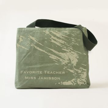 Favorite Teacher Custom Canvas Tote with Beads