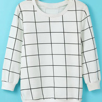 White Checkered Knitted Sweater