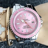 """Rolex"" Classic Popular Women Men Business Movement Watch Lovers Wristwatch Pink Dial I13212-1"