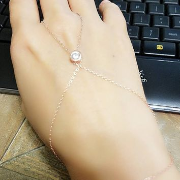 Gold White Zirconia Round Slave Bracelet Hand Chain Over 925 Sterling Silver