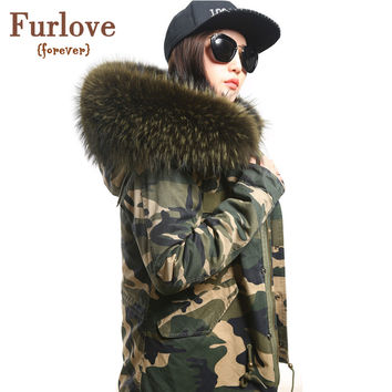 2016 women winter camo parkas large raccoon fur collar hooded coat outwear 2 in 1 detachable lining winter jacket brand style