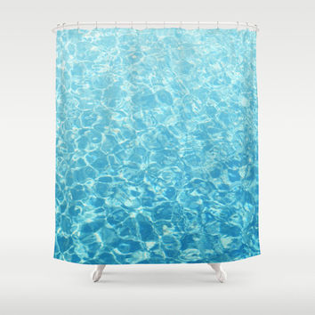 Crystal Oceans - Shower Curtain, Aqua Blue Beach Surf Ombre Style Coastal Cottage Chic Vanity Bathroom Hanging Bath Tub Accent. 71x74 Inches