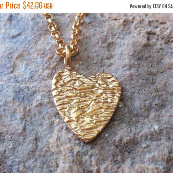 SALE 10% OFF gold heart necklace 24k gold plated sterling silver textured heart pendant, charm gift for her, bridesmaid gift, mothers day