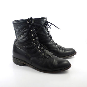 Roper Boots Vintage 1980s Justin Leather  Black Granny Lace up Packer men's size 9 1/2