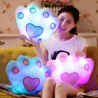 Giant glowing flashing teddy bear's paw pillow