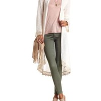 Crochet-Trimmed Sweater Knit Duster Cardigan - Ivory
