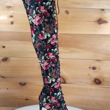 "Amara Lace Up High Heel Knee Boots 4"" Stiletto Black Floral Corduroy"