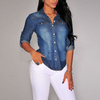 Lapel Button Blue Down Denim Jean Shirts