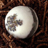 Handmade Luxury Lavender and Chamomile Bath Bomb with Real Lavender Buds- 8 oz Net Wt (Large), Sunflower Seed Oil, and Rose Hip Oil