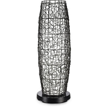 PatioGlo Bright White LED Outdoor Floor Lamp with Walnut Random Weave Resin Wicker Cover