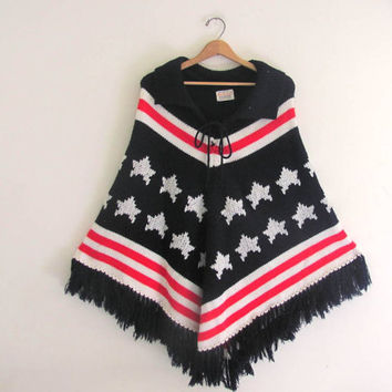 90s FLAG poncho. festival cape coat. stars and stripes knit sweater coat