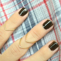 Knuckle Ring Chevron Arrow Joint Ring Gold Brass by FunnyPeopleCo