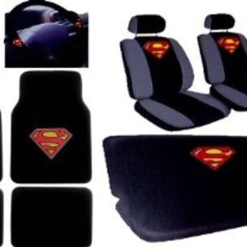16pcs New Superman Car Seat Covers Set with Heavy Duty Carpet Floor Mats, Shoulder Pads and Steering Wheel Cover, Keychain