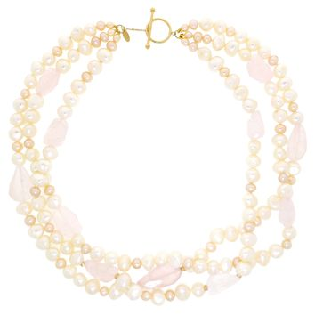 10K Yellow Gold Pearl and Rose Quartz 3 Strand Necklace Toggle Closure