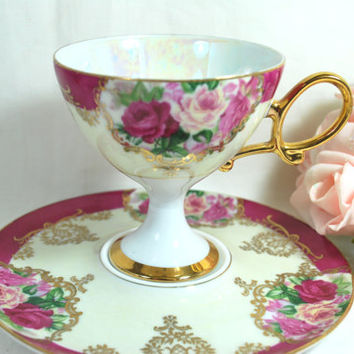 Vintage Mother of Pearl Tea cup and saucer pink and gold , Footed Tea cup Lusterware Set