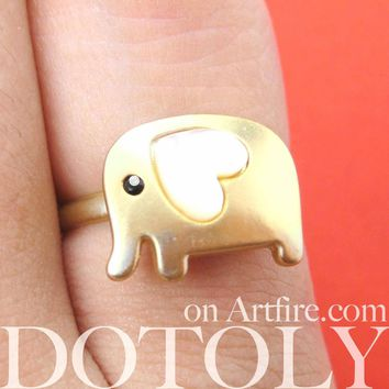 Elephant Adjustable Animal Ring in Gold with Heart Shaped Ears