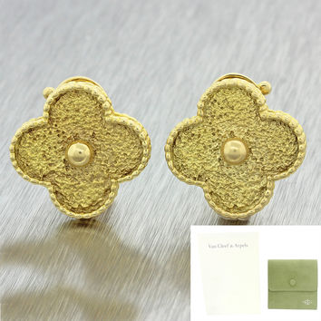 Van Cleef & Arpels Magic Alhambra Jumbo 18k Yellow Gold Earrings w/Pouch