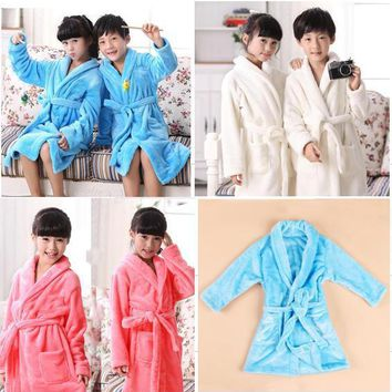 MIANLAIXIANG Free shipping 2018 Fashion Boys&Girls Toweling Robe Children's Coral Velvet Bathrobes Dressing Gown Kids