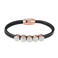 14k Rose Gold Finish Black Woven Leather Hexagon Iced Out Charm Bracelet Magnetic Clasp