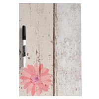 Rustic Wood With Pink Flowers Dry-Erase Board