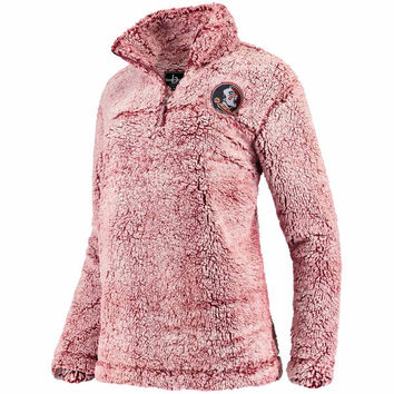 Florida State Seminoles Women's Garnet Sherpa Super Soft Quarter Zip Pullover Jacket