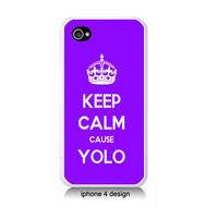 Purple Keep Calm Cause YOLO  Iphone  4/4s case, Iphone cover