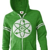 The Big Bang Theory Atom Green Zip Up Hooded Sweatshirt Hoodie
