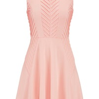 Pintuck Dress With Zipper Back - Peach