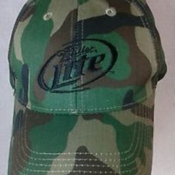Miller Lite beer Official camouflage hunting cap hat velcro strap baseball