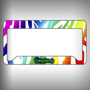 Rainbow Zebra Custom Licence Plate Frame Holder Personalized Car Accessories