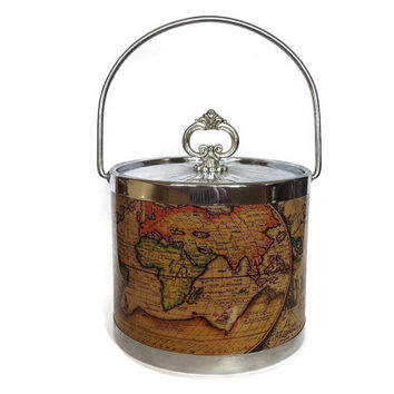 Vintage Ice Bucket, World Map, Silver, Retro