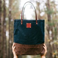 Waxed Canvas & Leather Tote Bag