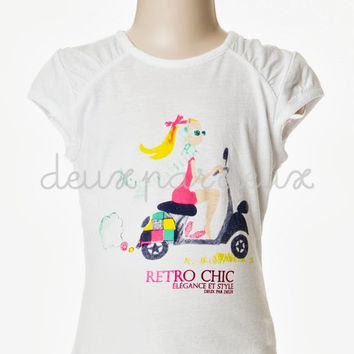 Deux Par Deux Girls Retro Chic Vespa T-Shirt