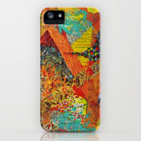 Pieces of Me - Gorgeous Bold Fabric Painting Collage Love Colorful Rainbow Yellow Red Stripes Floral iPhone Case by EbiEmporium | Society6