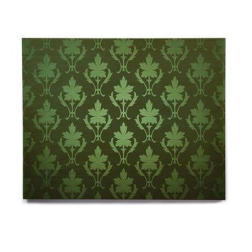 "KESS Original ""Emerald Damask"" Green Pattern Birchwood Wall Art"