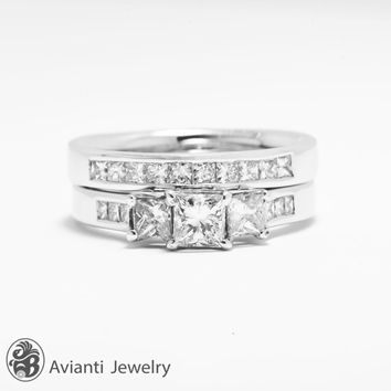 3 Stone Diamond Wedding Set, Princess cut Diamond Engagement Ring, Diamond Wedding Band, Princess cut Wedding Set | LDR01792