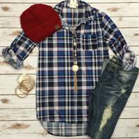 Lets Stay & Plaid Flannel Top: Blue/Red