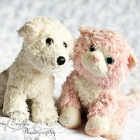 Kitty and Puppy Stuffed Animal White Pink Nursery Photography Print 8x10