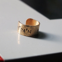 Coordinates ring, coordinate ring, latitude longitude ring, hand stamped brass ring, custom rings, personalized ring, brass ring coordinates