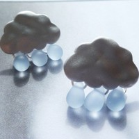 Rain drop cloud earrings in silver and glass by ConstantBaubling
