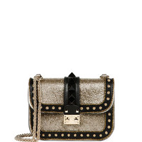 Valentino Glam Lock Glitter & Leather Shoulder Bag