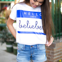 Hello My name is Belieber Crop Shirt