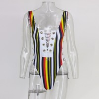 Women Summer knitted bandage multicolor striped bodysuit overalls Sexy v neck playsuit