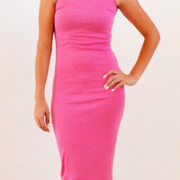 Bella Pink Pretty  Mid Calf Dress