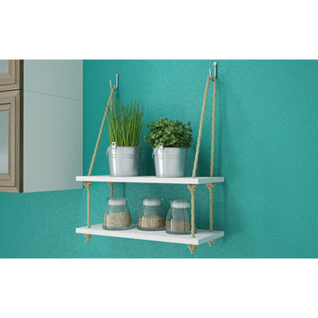 Manhattan Comfort Uptown 2.0 17.5 Inch Rope Swing With 2 Shelves In White 96amc6 |