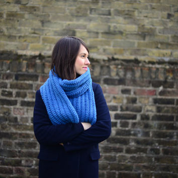 Slate Blue Scarf, Crochet Scarf, Unisex Scarf, Winter Accessories