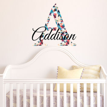 Multicolored Initial Custom Name Vinyl Wall Decal Sticker