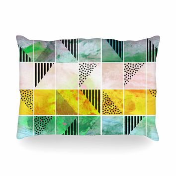 """bruxamagica """"Tartan Coral Gold Green"""" Gold Coral Abstract Pattern Digital Vector Oblong Pillow"""