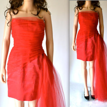80s Vintage Red Party Dress By Bill Blass Designer Strapless Red Cocktail Dress Evening Gown Size Small Medium